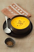Creamy squash and carrot soup with caraway