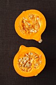 Hokkaido squash, cut in half (view from above)
