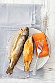 Lachs, Heilbutt und Forelle (geräuchert)