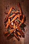 Sweet Potato Fries with Coarse Salt Fresh Thyme
