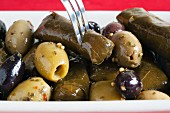 Stuffed vine leaves and marinated olives (close-up)
