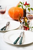 Two place settings on a table with autumnal decorations