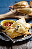 Pastry parcels filled with aubergine and feta cheese