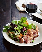 Duck salad with pinot jus and vegetables