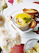 Potted prawns with dill and bread