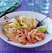 Prawns with tomato cream and pasta ribbons