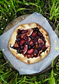 Cherry, fig and plum galette