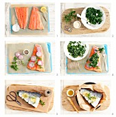 Preparing baked salmon with spinach and onion filling