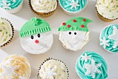 Cupcakes decorated with a winter theme