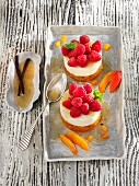 Sweetened curd cheese with apricots and raspberries