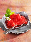 Strawberry sorbet with strawberry flowers