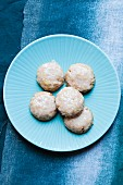 Iced Lemon Cookies on a Blue Plate