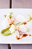 Halibut with Cucumber and Radish