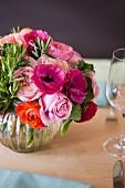Pretty Flower Arrangement in a Silver Vase