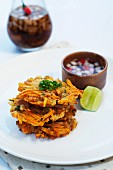 Ukoy (prawn fritters with sweet potatoes, carrots, spring onions and a soy & vinegar dip, popular street food from the Philippines)