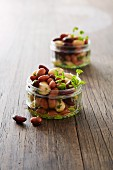 Bean salad in glass ramekins