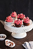 Cherry cupcakes with chocolate balls