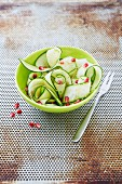 Courgette and cucumber salad with pomegranate seeds