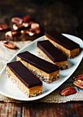 Caramel and nut slices