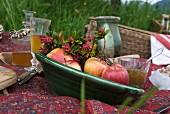 Frische Äpfel und Blütenzweige in grüner Keramikschale auf Picknickdecke