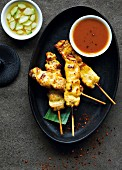 Chicken satay skewers with chilli dip (Asia)