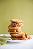 Ice cream sandwiches with apricots