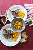 Lamb chops with mango chutney for Christmas