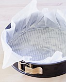 A Springform Pan Lined with Parchment Paper