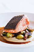 Artic Char with Roasted Brussel Sprouts, Pancetta, Mashed Celery Root and Sauce