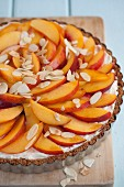 Nectarine tart with flaked almonds