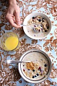 Two bowls of oats with dried cranberries and blueberries