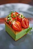Basil and lemon custard slice with strawberries