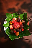 Assorted fresh fruits on fig leaves (view from above)