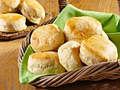 Several scones in a bread basket