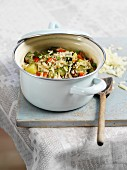 Vegetable risotto in a casserole dish