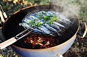 Sardines being barbecued