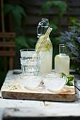 Elderflower 'champagne' on a table in the garden