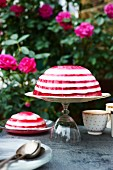 Rose jelly on a table in the garden