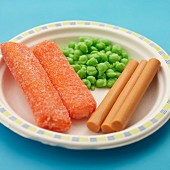 Fish fingers with peas