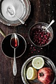 Pomegranate syrup and ingredients (pomegranate, lemons, sugar)