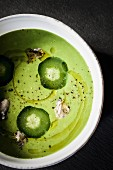 Green asparagus soup with oysters, cucumber and olive oil