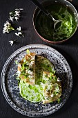 Fried celeriac with a herb & buttermilk sauce and wild garlic
