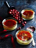 Creme Brulee mit Cranberries zu Weihnachten