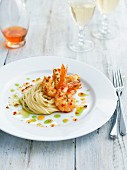 King prawns with chilli & basil oil and noodles