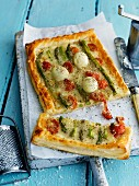 Asparagus tart with tomatoes and mozzarella
