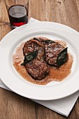 Saltimbocca alla romana made with saddle of venison with sage and Parma ham