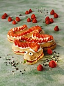 A strawberry snake with cream