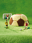 Football cake and plastic figures