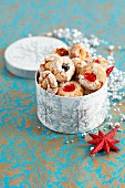 Almond biscuits with candied fruits for Christmas