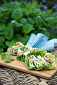 Waldorf salad in lettuce leaves